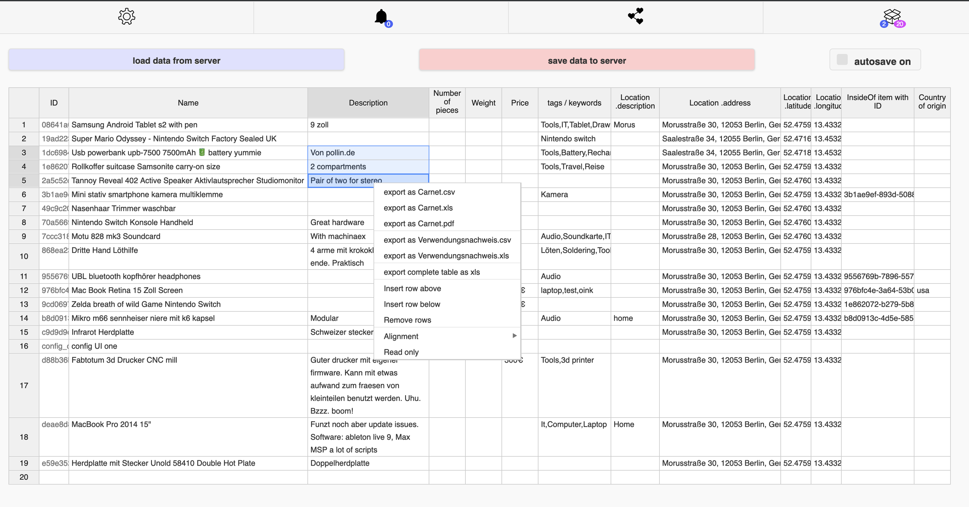 screenshot dingsda spreadsheet view